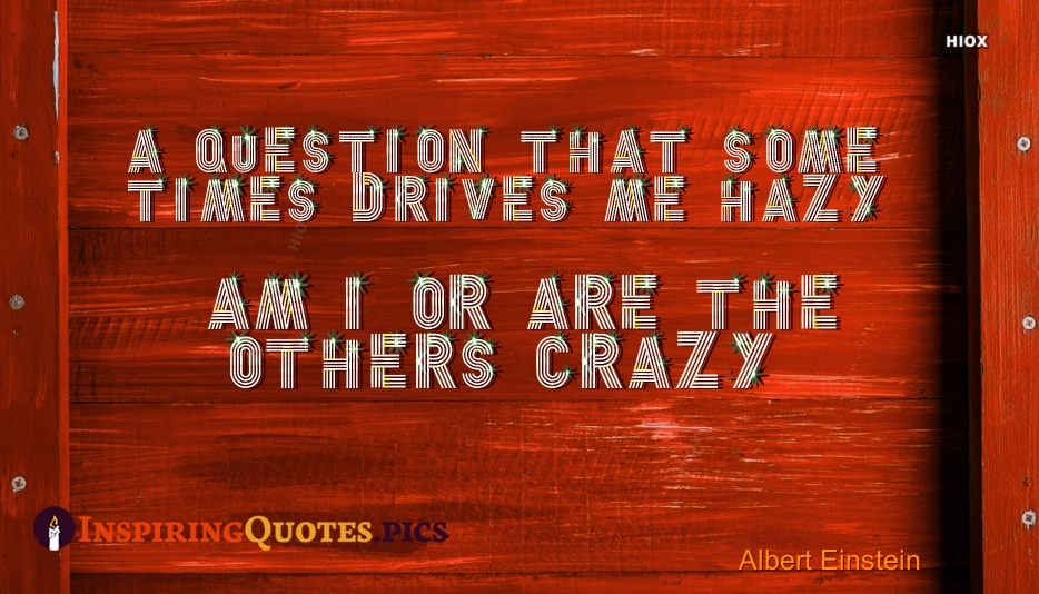 A Question That Sometimes Drives Me Hazy; Am I Or Are The Others Crazy - Albert Einstein