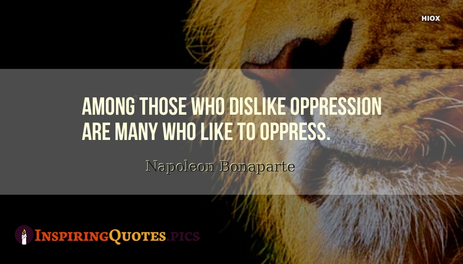 Among Those Who Dislike Oppression Are Many Who Like To Oppress - Napoleon Bonaparte