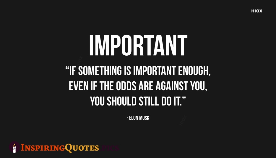 Elon Musk Inspiring Quote | If Something is Important Enough, Even If The Odds Are Against You, You Should Still Do It