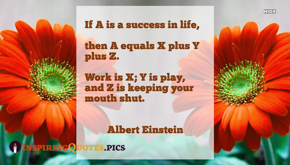 If A Is A Success In Life, Then A Equals X Plus Y Plus Z. Work Is X; Y is Play, and Z Is Keeping Your Mouth Shut - Albert Einstein