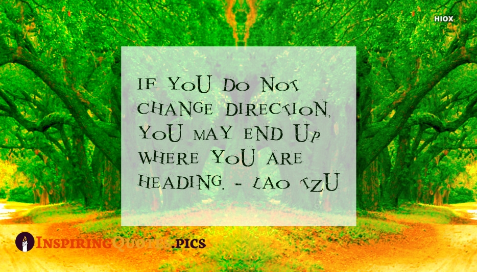 If You Do Not Change Direction, You May End Up Where You Are Heading - Lao Tzu