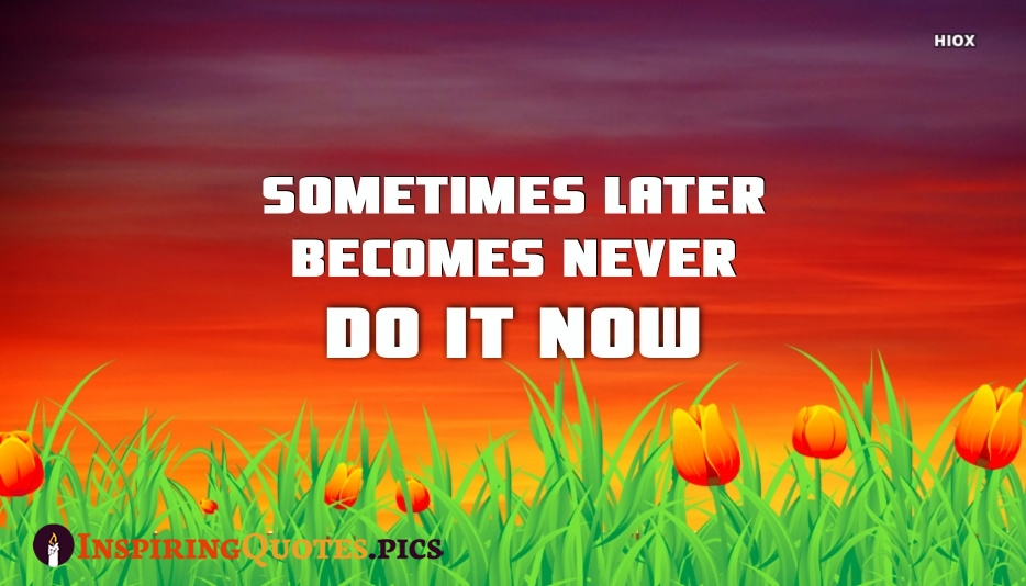 Positive Inspiring Quote | Sometimes Later Becomes Never Do It Now