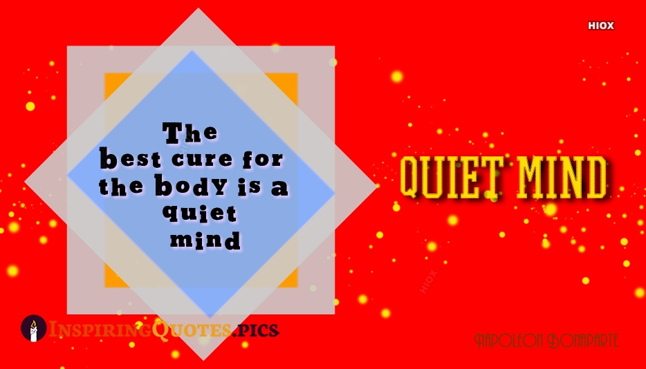 The Best Cure For The Body Is A Quiet Mind - Napoleon Bonaparte