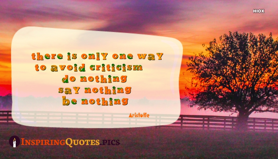 There Is Only One Way To Avoid Criticism, Do Nothing, Say Nothing, Be Nothing - Aristotle