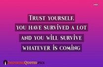 Inspirational Self Help Quotes | Trust Yourself, You Have Survived A Lot