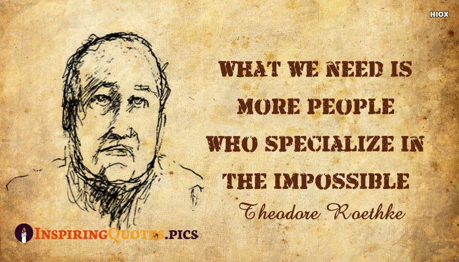 What We Need Is More People Who Specialize In The Impossible- Theodore Roethke